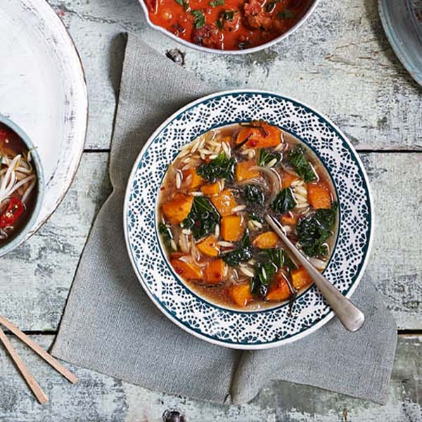 Roast butternut squash, kale and orzo soup