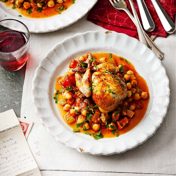 Spanish-style quail with smoky chickpea stew