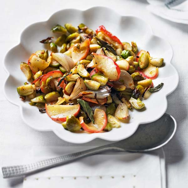Roasted sprouts with caramelised shallots, apple and sage