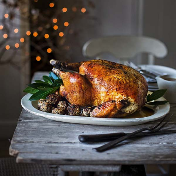 Christmas turkey with juniper and rye stuffing
