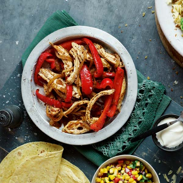 Chicken fajitas with corn salsa