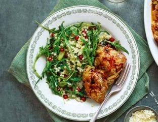 Pomegranate chicken with giant couscous salad