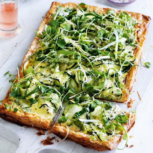 Gruyère and courgette tart