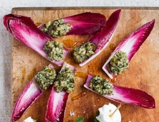 Walnut pesto chicory leaves