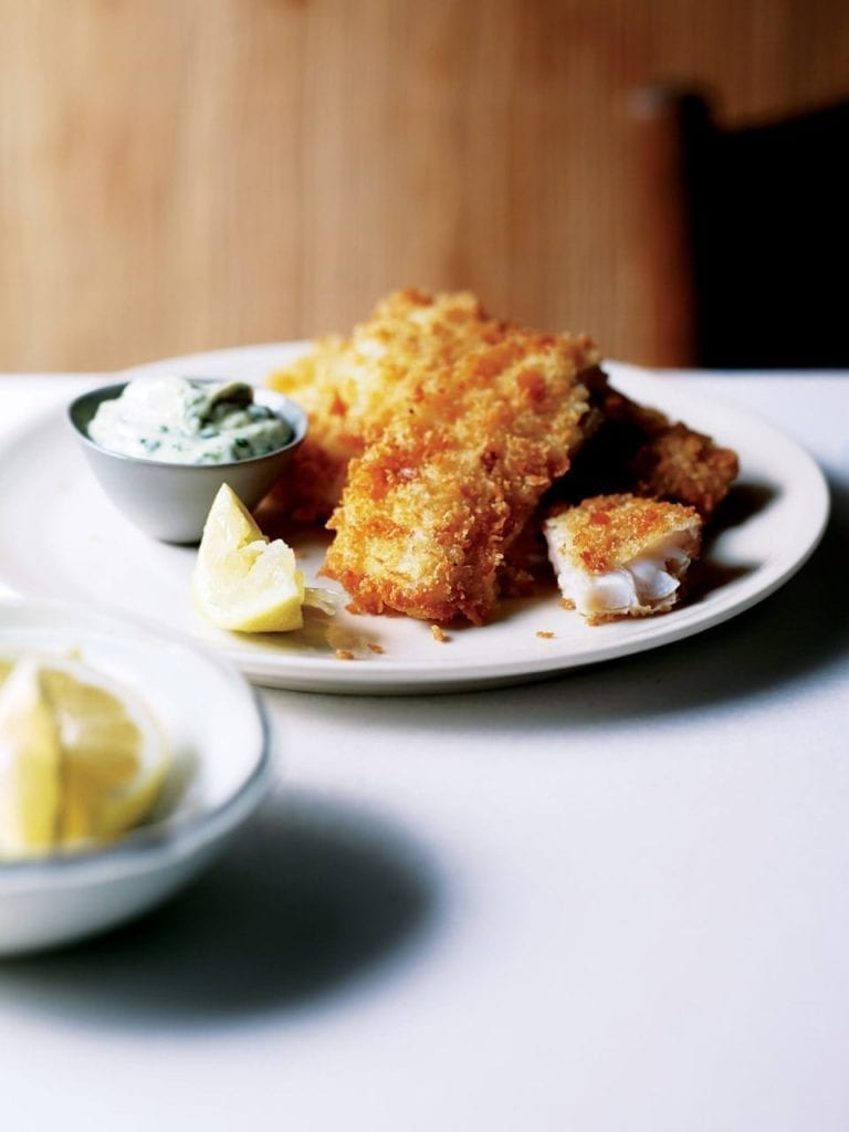 Deep-fried lemon sole with green mayonnaise