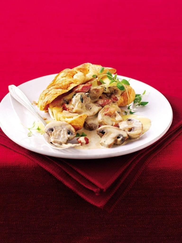 Creamy pancetta, Brie and mushroom croissants