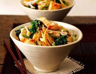 Chicken and broccoli stir-fry with spaghetti