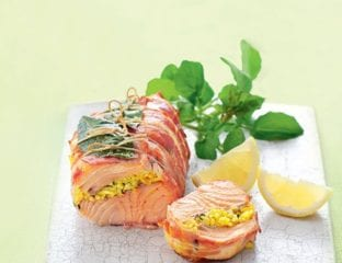 Pancetta-wrapped salmon with saffron and herb rice