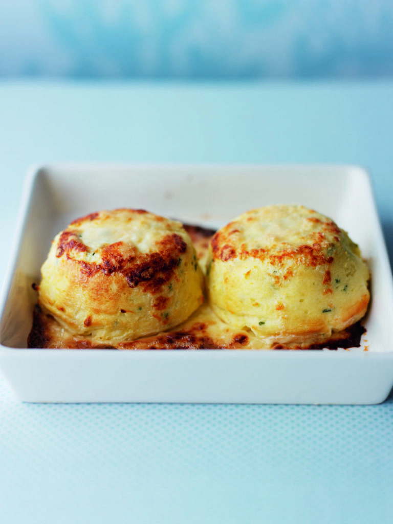 Twice-baked goat's cheese and chive soufflés