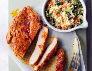 Harissa chicken with bulgur wheat and parsley salad