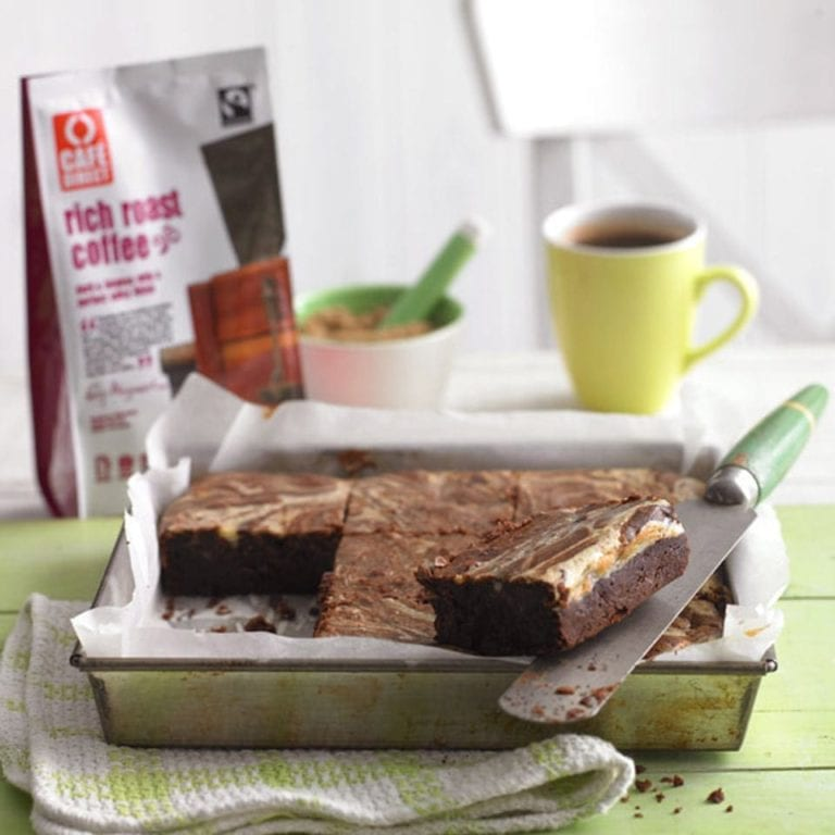 Coffee and chocolate cream cheese brownies