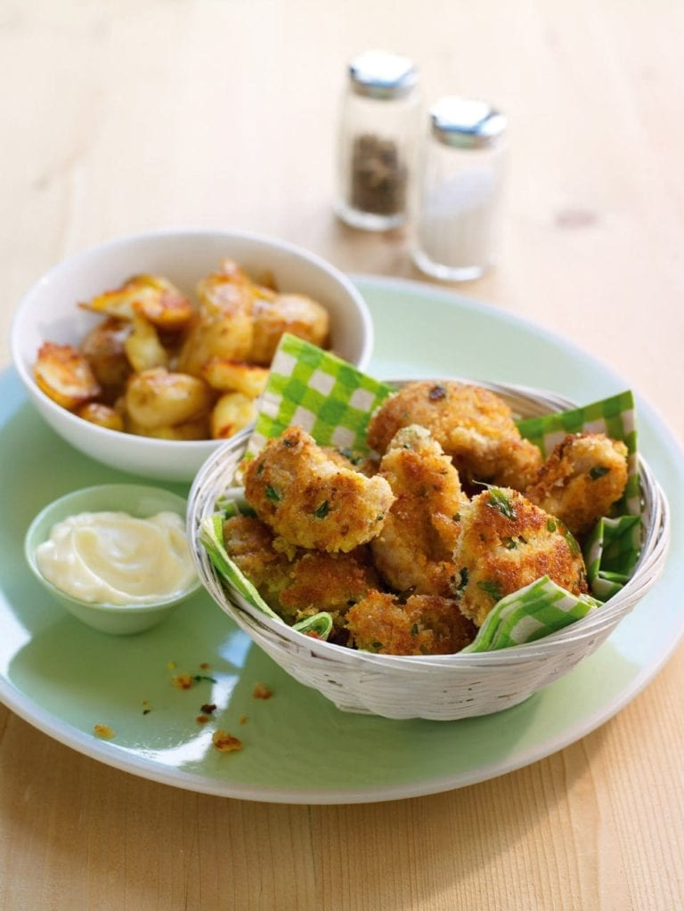 Herby chicken goujons with crispy new potatoes
