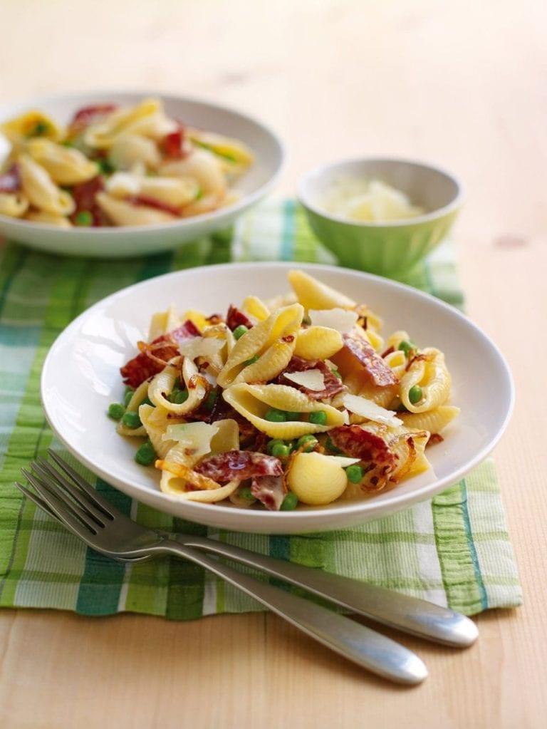 Pea, chorizo and Pecorino pasta