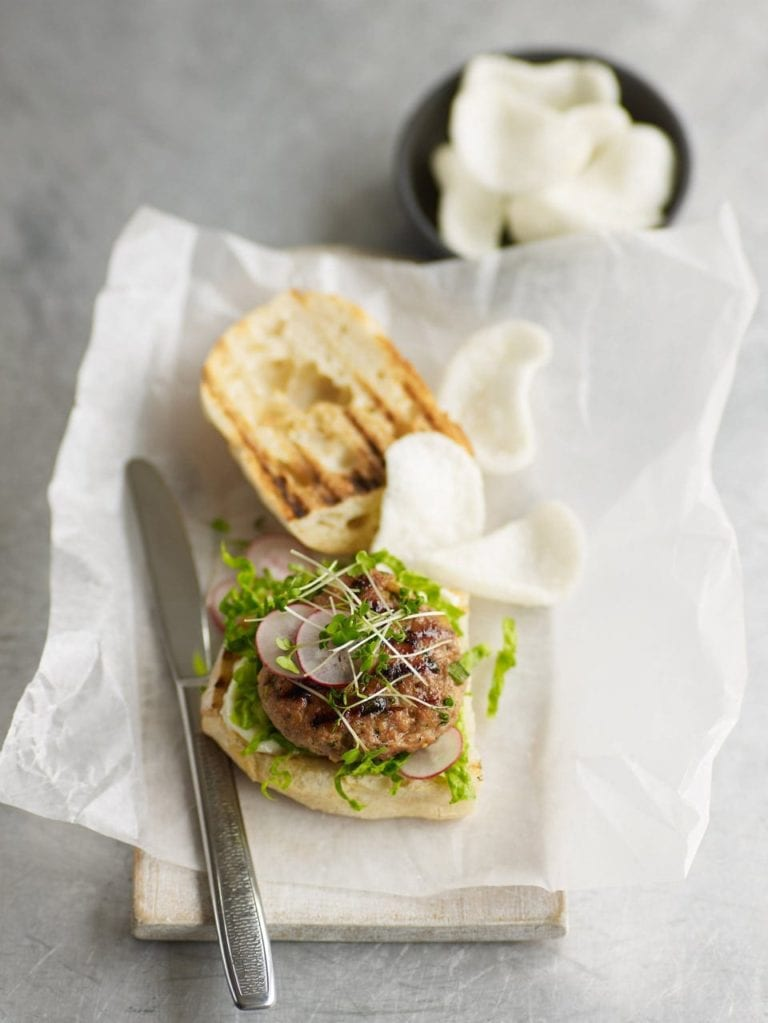 Sticky Asian-style pork burgers