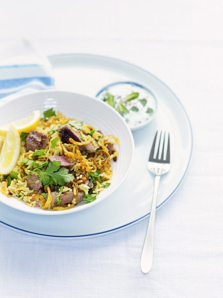 Speedy barbecued lamb biryani