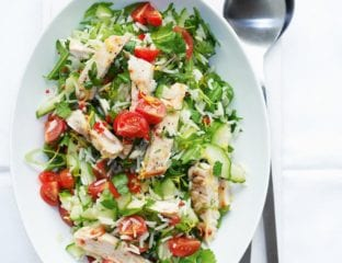 Griddled chicken rice salad