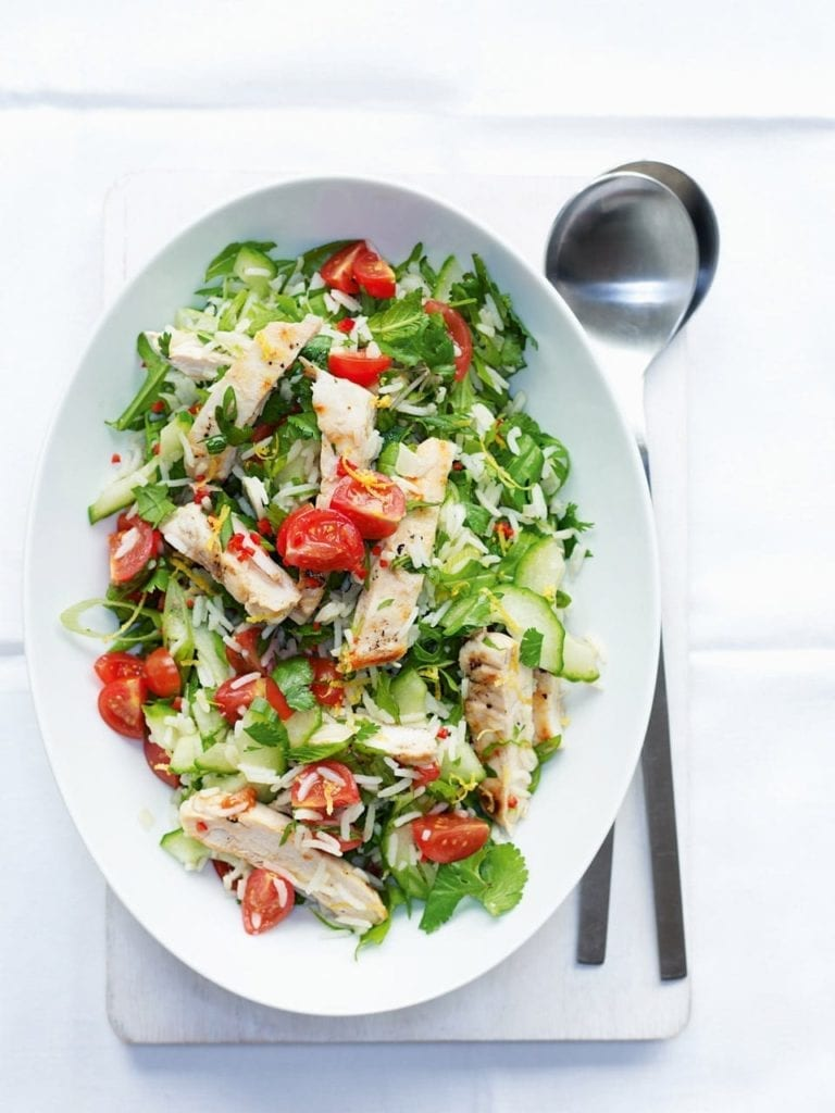 Griddled chicken rice salad
