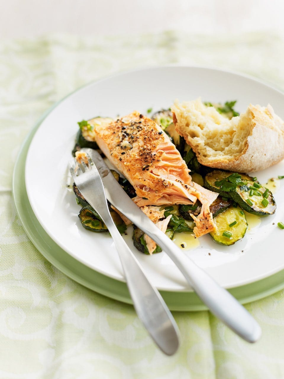 Pan Fried Salmon With Herby Courgettes Delicious Magazine