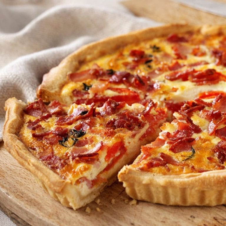 James Martin's bacon, cheese and tomato quiche
