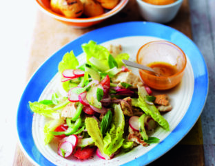 Baby barbecued spuds with fattoush salad
