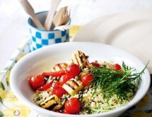 Halloumi with saffron tomato salad