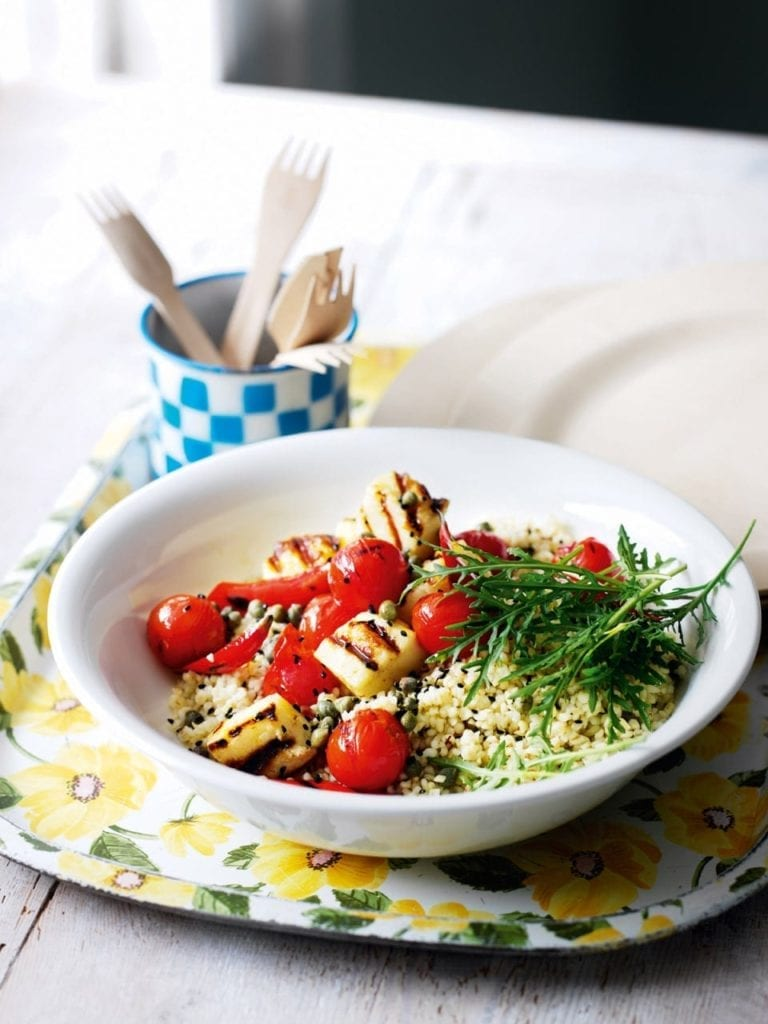 Halloumi with saffron tomato salad