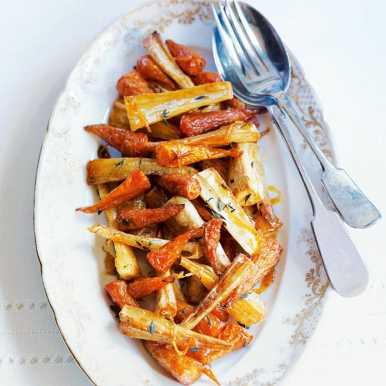 Carrots and parsnips with maple and orange glaze