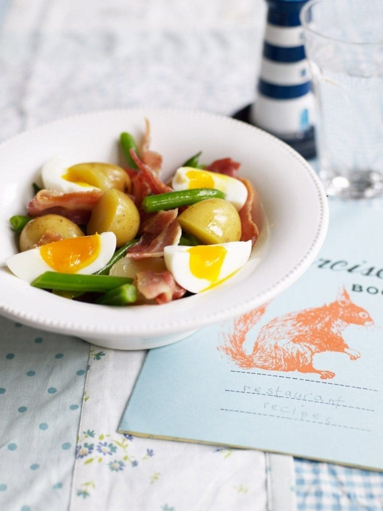 Hot new potato salad with hard-boiled eggs