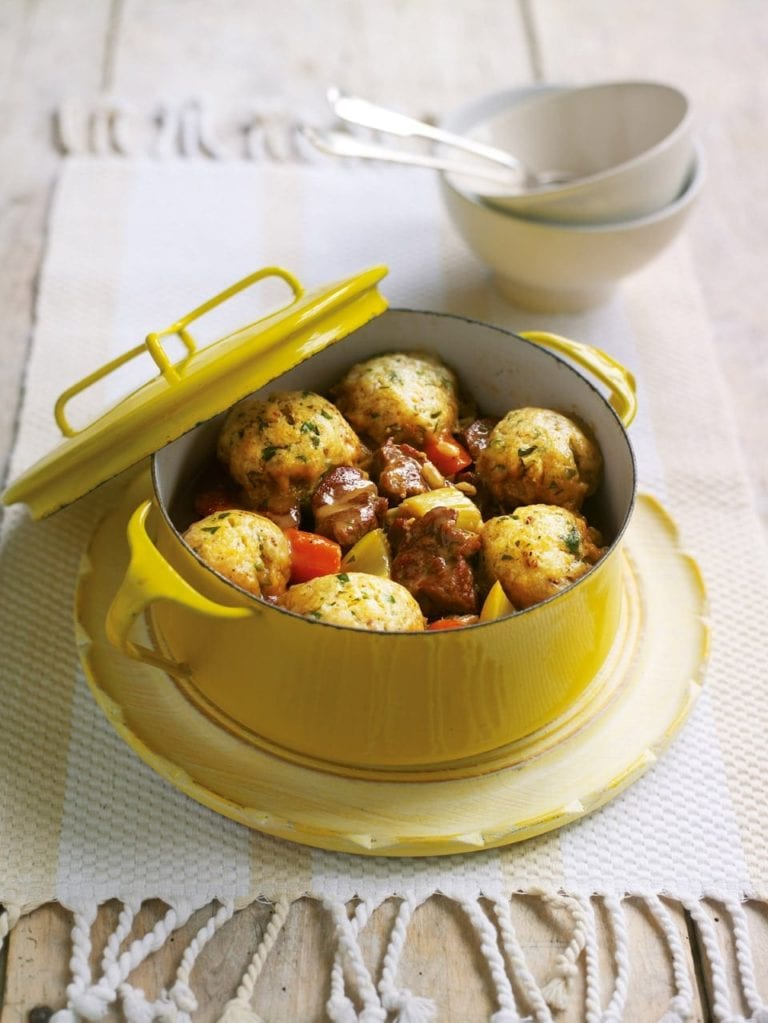 Lamb and pearl barley casserole with mustard parsley dumplings