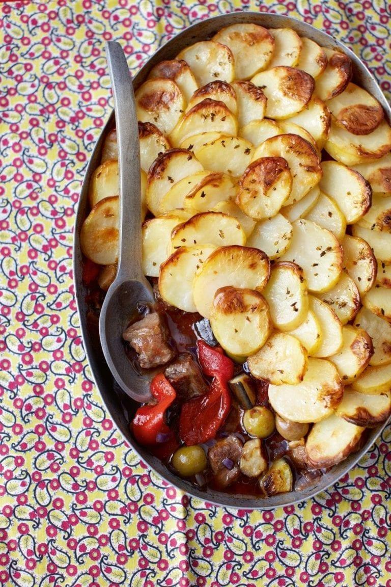 Lamb caponata topped with crispy potatoes
