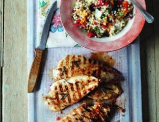 Chargrilled lemon chicken with antipasti couscous