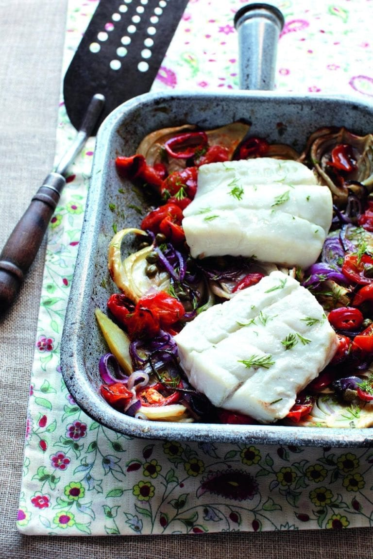 Roasted cod with fennel, red onion and balsamic tomatoes