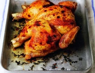 Spatchcocked roast chicken with herbed ricotta stuffing