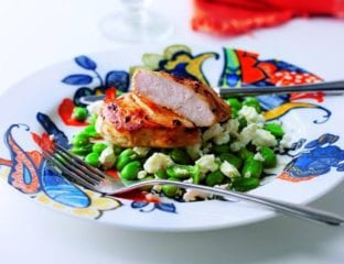 Roast chicken with minted broad beans and feta
