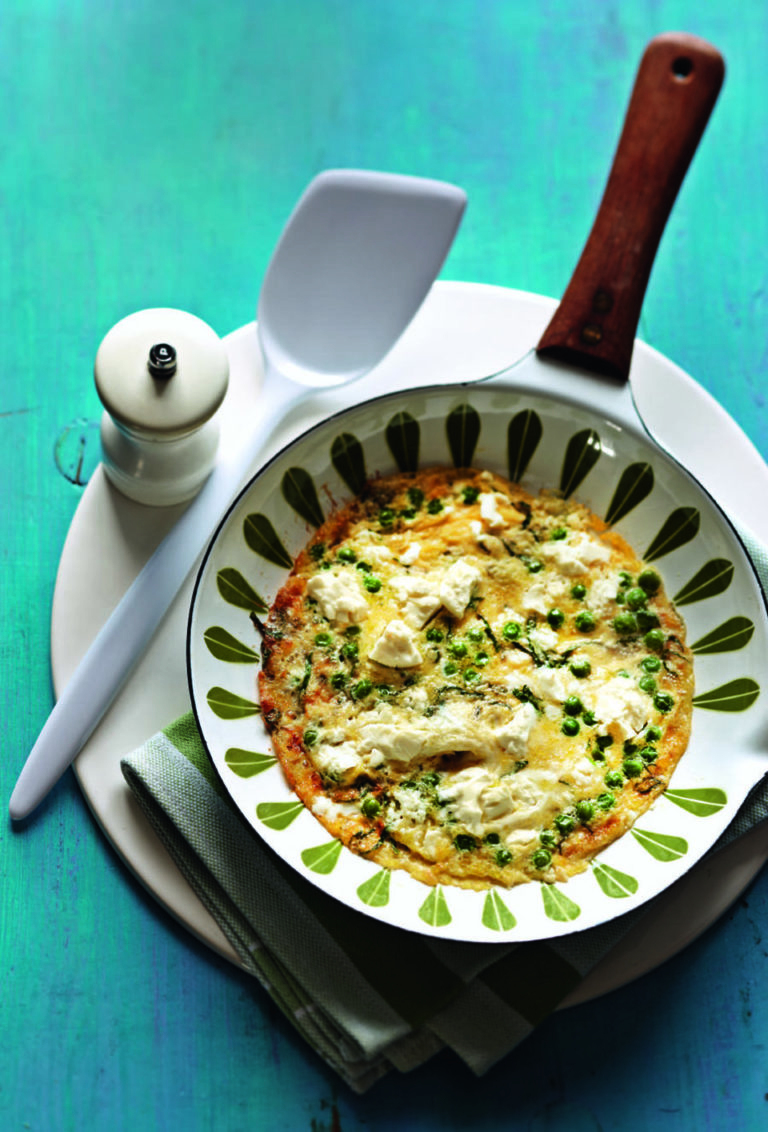 Pea, mint and feta omelette