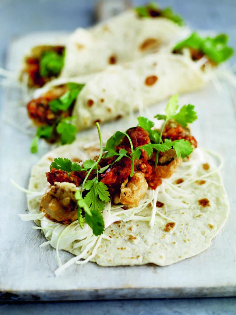 Baja-style deep-fried mackerel tacos