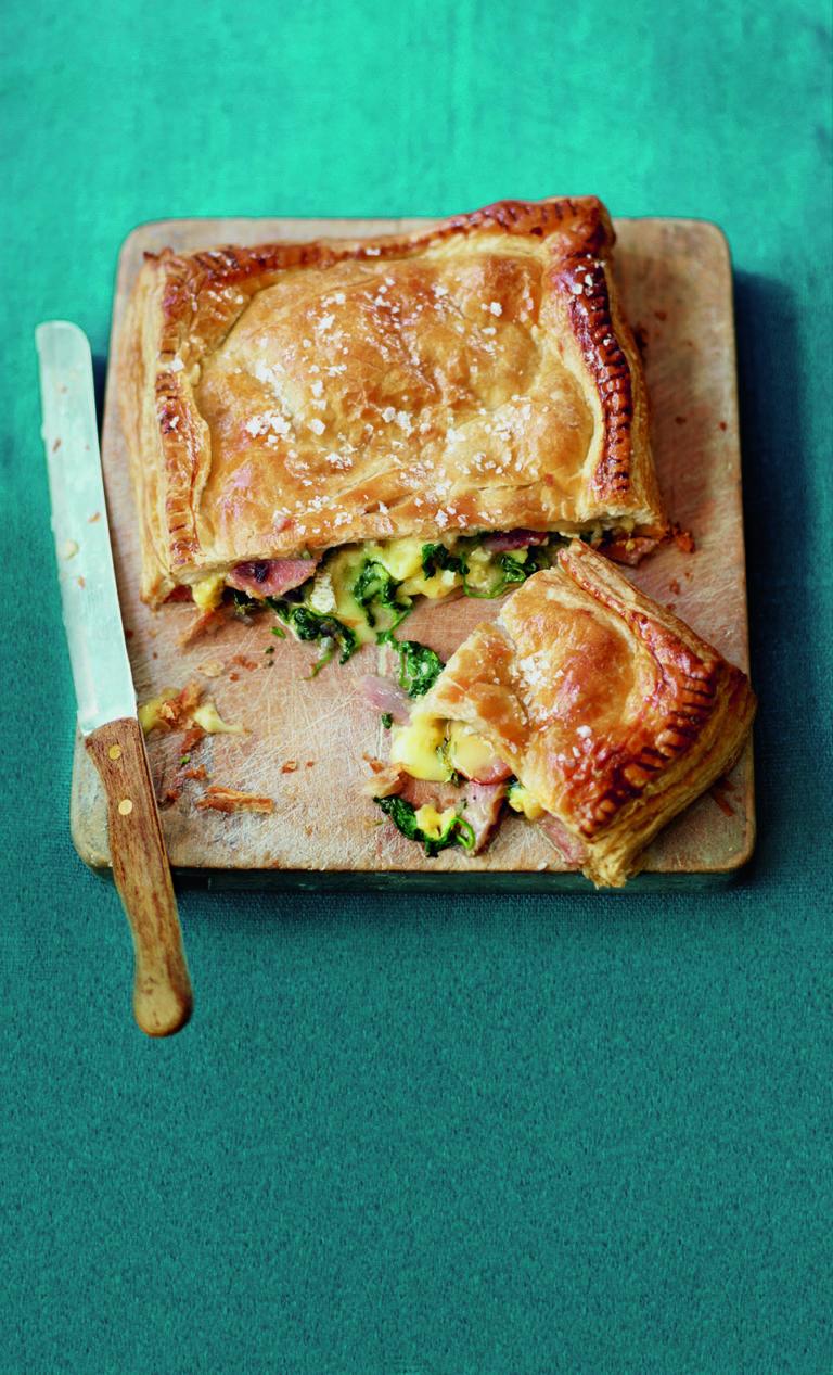 Ham and brie stuffed puff parcel