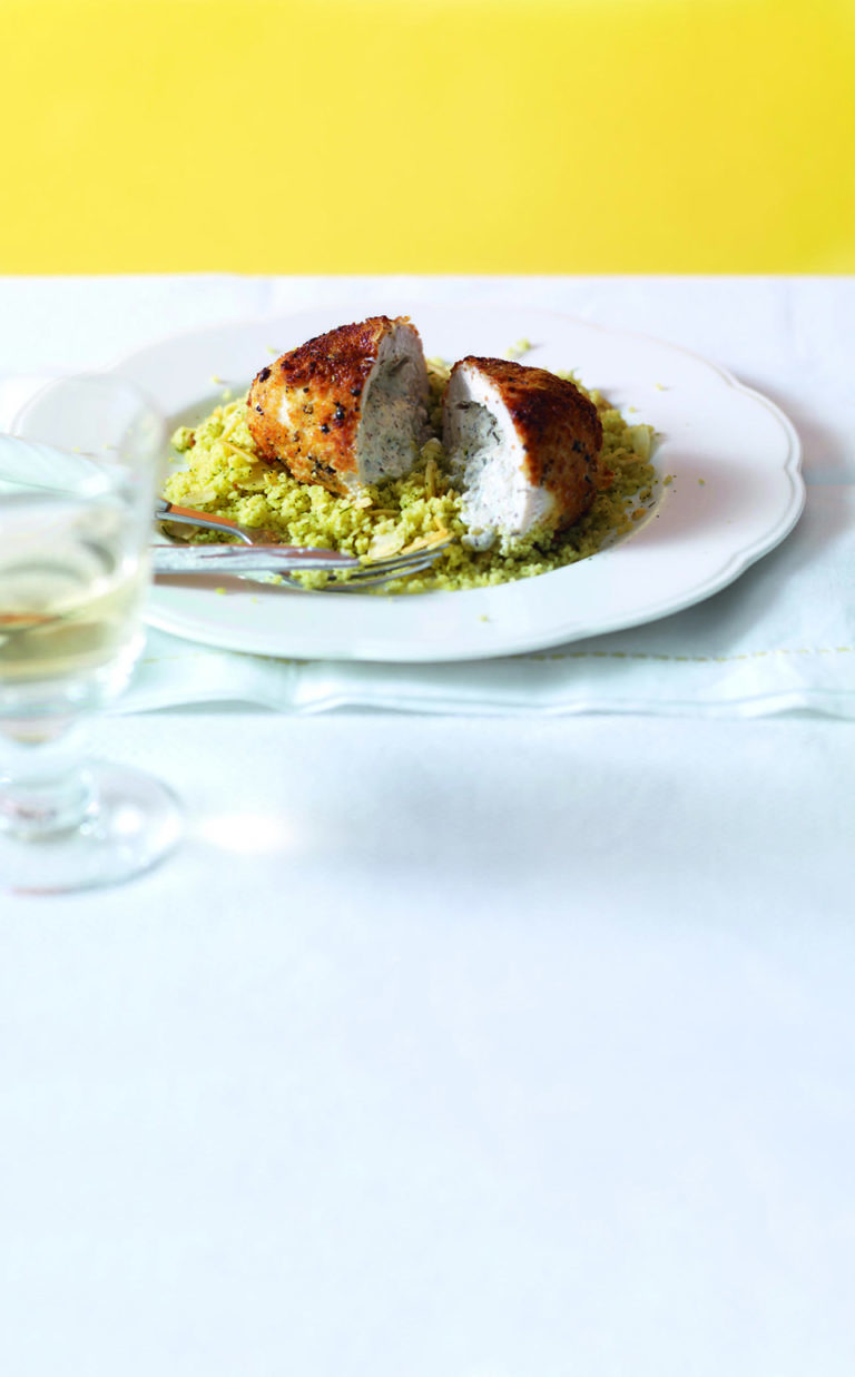 Zatar-stuffed chicken with lemon couscous
