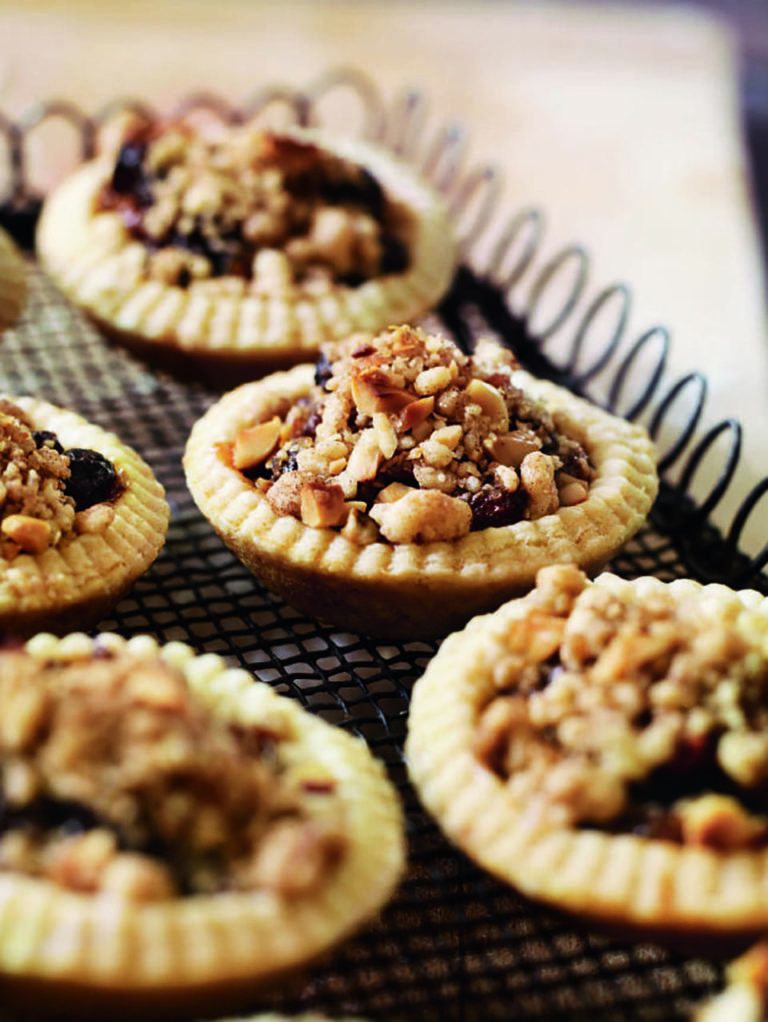 Mince pies with hazelnut streusel topping