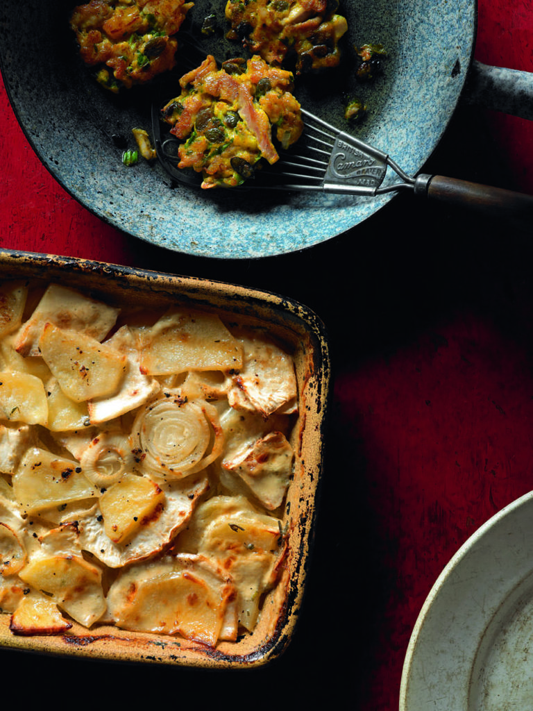 Celeriac bake with chicken and pumpkin fritters