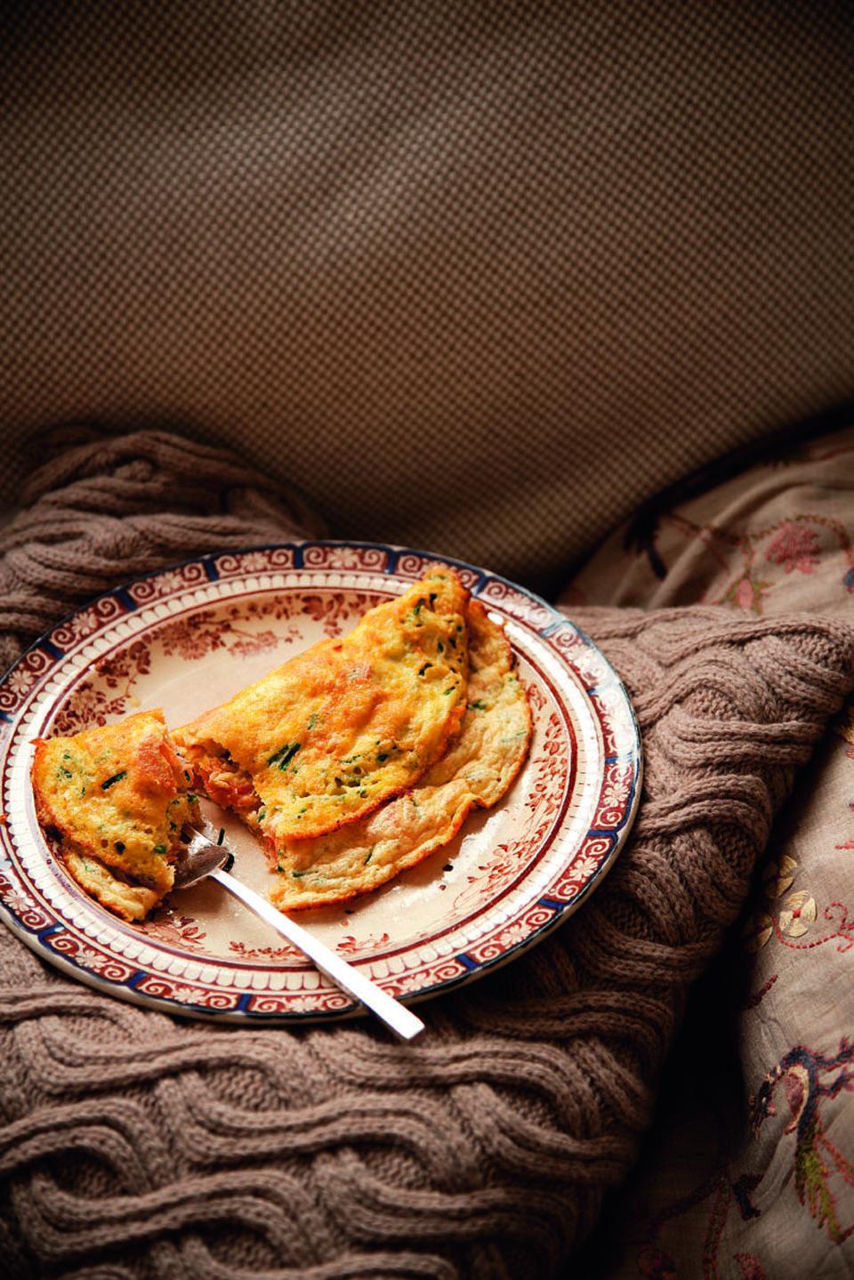 Hot-smoked salmon soufflŽé omelette | delicious. magazine