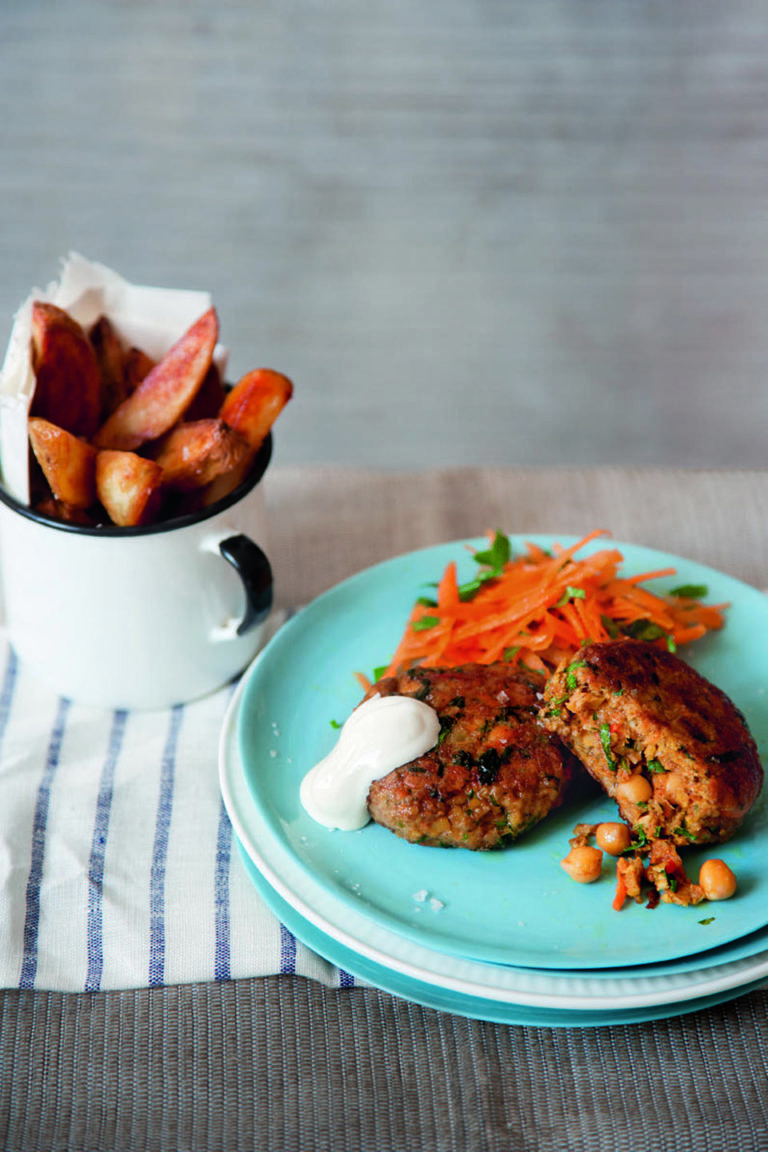 Moroccan lamb, chickpea and carrot burgers recipe
