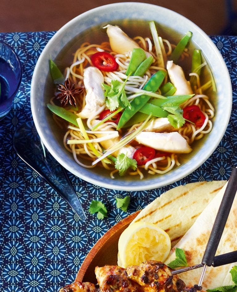 Aromatic chicken pho noodle soup