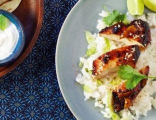 Sticky chicken with jasmine rice
