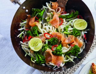 Smoked salmon and broccoli stir-fry