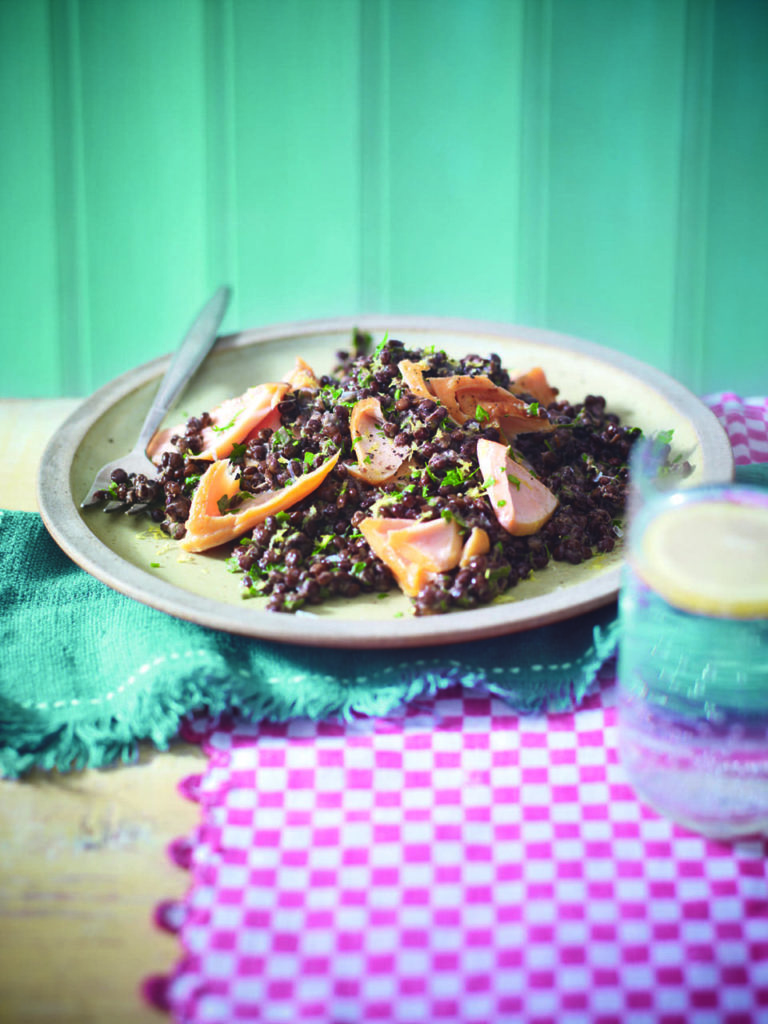 Hot-smoked salmon and zesty lentils