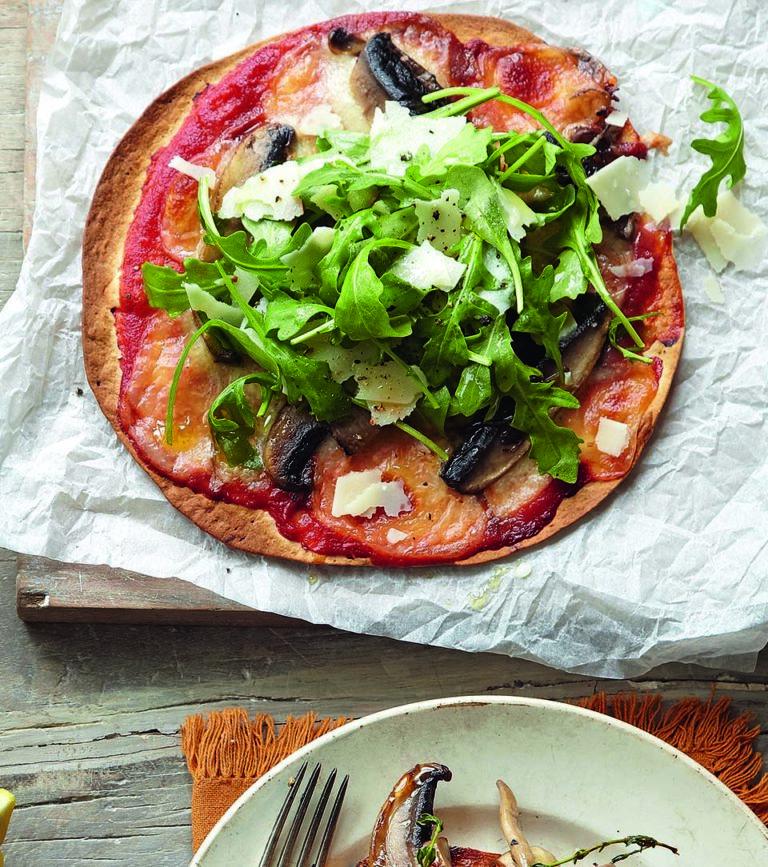 Tortilla mushroom pizzas