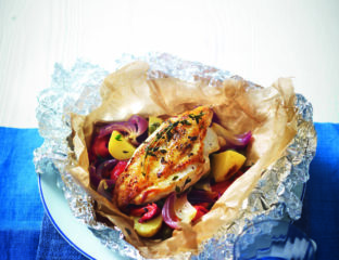 Chicken parcels with capers, peppers and new potatoes
