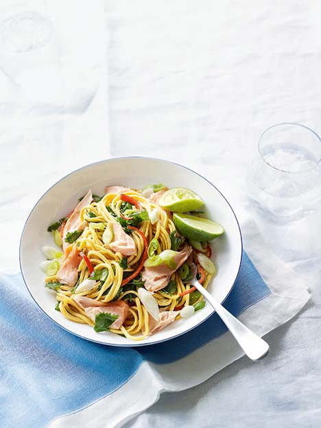 Peanut, sesame and ginger noodles with wild Alaskan salmon