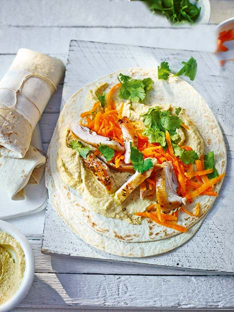 Chicken and houmous wraps